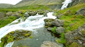 ocidental : Big waterfall Dynjandi with river and valley in Iceland Vídeos