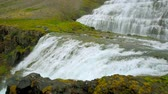 ocidental : Waterfall Dynjandi with river and valley in Iceland