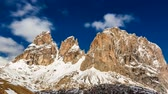 selva : View of the Sella Pass in the Dolomites on a sunny day, 4k timelapse