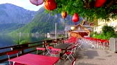 vila : Entrance to a Chinese restaurant in Hallstatt in Alps at sunrise