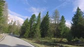selva : Fast driving through the serpentine from the peak to down in Dolomites, Italy