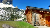 italy : Beautiful small mountain hut in the dolomites, Italy
