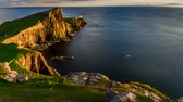 pontos : Stunning sunset at Neist point lighthouse, Scotland, United Kingdom, 4k, timelapse Stock Footage