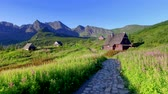 colinas : Little huts in the Tatra mountains in Poland Stock Footage