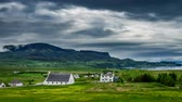 casa de campo : Stormy clouds over the Staffin town , Skye Island, Scotland, 4k, Timelapse Stock Footage