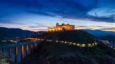 colinas : Dusk over stunning castle in Preci, Italy, Umbria