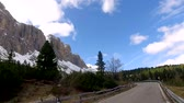 selva : View from a driving car on the winding roads in the mountains, Dolomites, Alps
