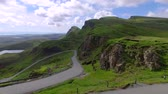 británie : Green valley in mountain Quiraing, Scotland, United Kingdom