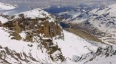 turizm : View of the snowy valley from the summit of Sass Pordoi in the Dolomites