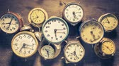 measure : Various clocks looped as time flow concept animation Stock Footage