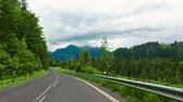 граница : Road between hills in Tatras on the border between Poland and Slovakia Стоковые видеозаписи