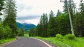 Словакия : Road in Tatra mountains on the border between Poland and Slovakia Стоковые видеозаписи