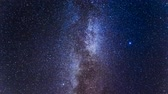 takımyıldız : Moving milky way on dark sky at night, Timelapse, 4K Stok Video