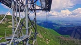 Travel by cable car from Kasprowy Wierch to Kuznice, Tatra mountain, Poland