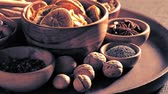 cardamom : Christmas spices in bowls on the table Stock Footage