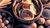 cardamom : Mix of spices in bowls spinning on the table Stock Footage