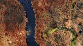 pântano : Aerial view of winding river between brown swamps