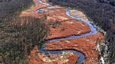 mojada : Winding river and brown swamps, aerial view, Poland