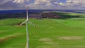 parque eólico : Aerial view of wind turbines as alternative energy, Poland