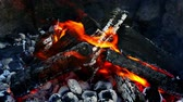 Closeup of hot coals and wood in the campfire