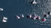 denizci : Regatta of small boats on the lake in summer, view from above Stok Video