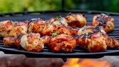Spicy grilled chicken leg with spices on grill Stock Footage