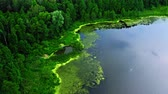 Stunning green lake and river, aerial view of summer Poland, Tuchola national park