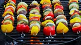 Homemade and hot skewers with meat and vegetables on grill