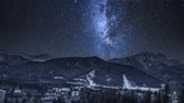 Milky way over Zakopane at night in winter, Tatra Mountains