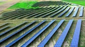 photovoltaic : Aerial view of solar panels on field in summer, Poland