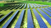 photovoltaic : Solar Panels on field in summer Poland, aerial view Stock Footage