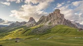 dolomit : Passo Giau in Dolomites at sunset, timelapse Stok Video