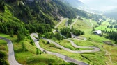 ドロミテ : Stunning winding road at Passo Gardena, Dolomites, aerial view