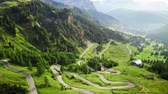 escalada : Stunning winding road at Passo Gardena, areal view, Dolomites