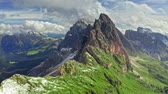 Areal view of Seceda in South Tyrol, Dolomites, Italy
