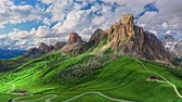 Passo Giau in Dolomites in autumn, aerial view, Italy