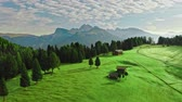 오두막 : Sunrise in Alpe di Siusi, aerial view, Dolomites 무비클립
