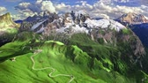 Aerial view of serpentine in Passo Giau, Dolomites