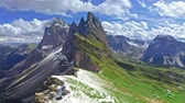 Aerial view of Seceda, South Tyrol in Dolomites