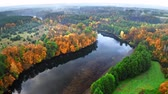 River at autumn in Poland, aerial view Stock mozgókép