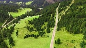 Mountain road at Passo delle Erbe in Dolomites, aerial view
