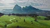 Sunrise in Alpe di Siusi in summer, aerial view