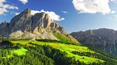Aerial view of stunning Passo delle Erbe with green hills Stockvideo