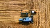 Top view of combine harvesting field in Poland