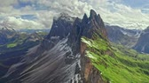 Seceda in South Tyrol, Dolomites, view from above Stock Footage