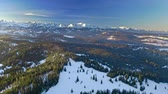 Sunrise in Tatra mountains in Poland at winter, aerial view Vidéos Libres De Droits