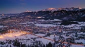Aerial view of Zakopane at dusk in winter, Poland