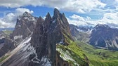 Areal view of Seceda in Dolomites in summer Dostupné videozáznamy