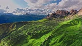 Aerial view of green hills at Passo Giau in Dolomites