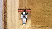 Top view of harvester working on field in Poland, Europe Dostupné videozáznamy